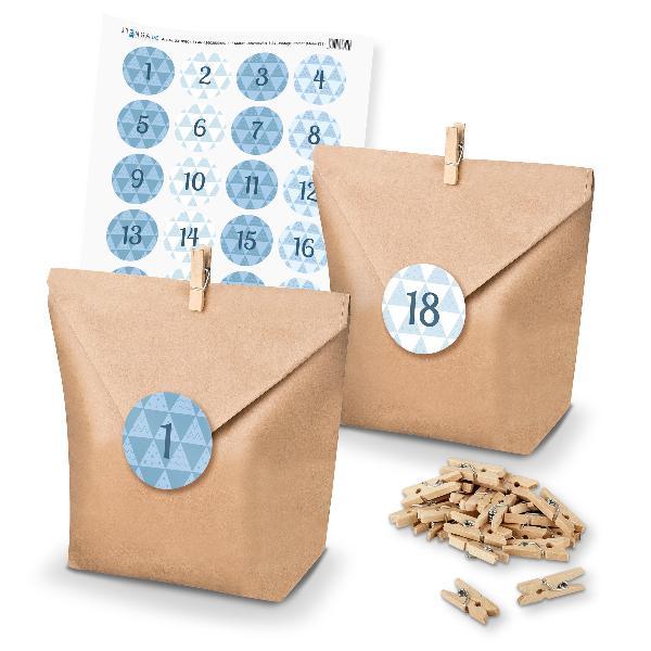 Adventskalender Set 26 Geschenktüten + Klammern + Sticker