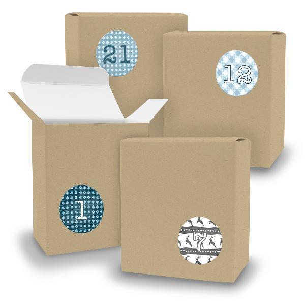 Adventskalender zum Füllen 24x Quader BRAUN + Sticker V0...