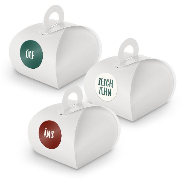Adventskalender zum Füllen 24x Box mit Griff WEISS + Sti...