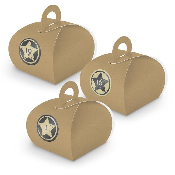 Adventskalender zum Füllen 24x Box mit Griff BRAUN + Sti...
