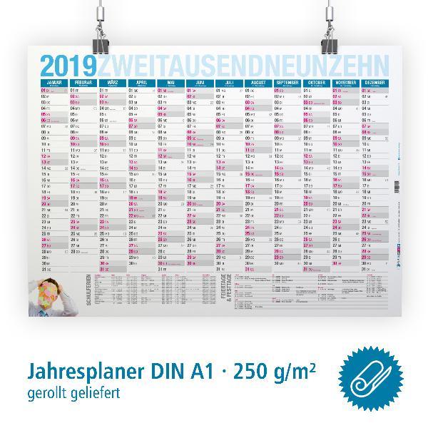 itenga Jahresplaner 2019 Wandkalender DIN A1 (84,1x59,4c...