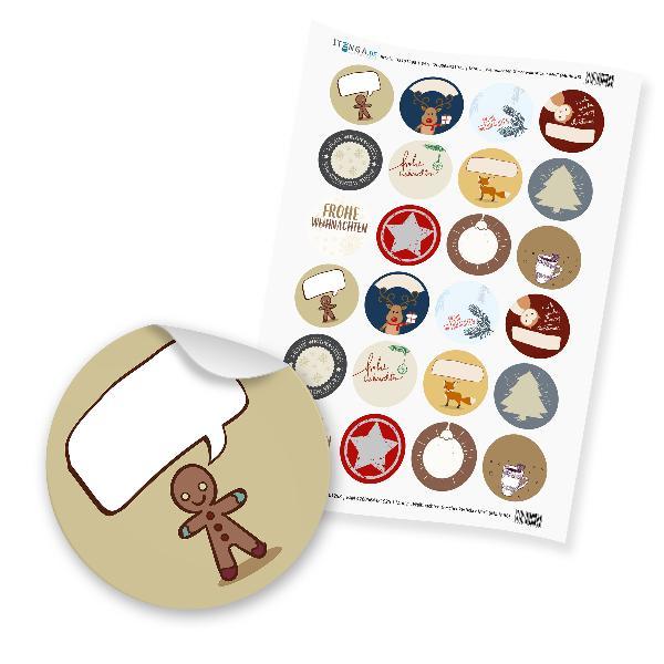 """itenga 24 x beschreibbare Sticker """"Weihnachten Geschenke..."""