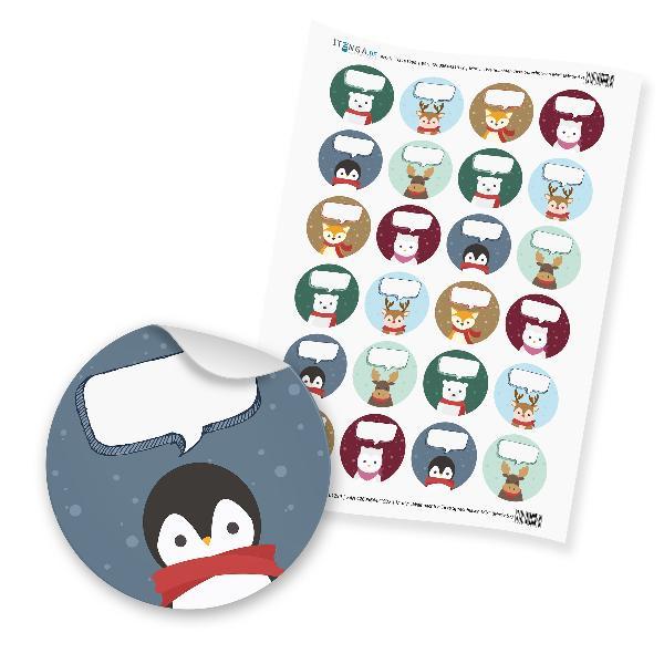 """itenga 24 x beschreibbare Sticker """"Weihnachten Tiere Spr..."""
