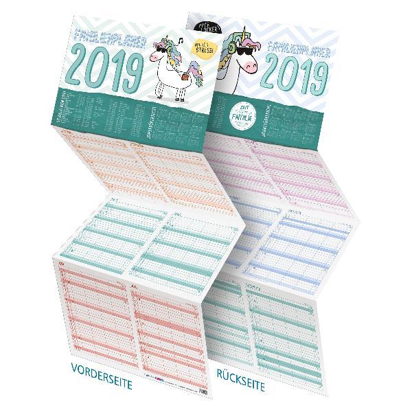 itenga Familienplaner 2019 Einhorn Sparversion 4 Spalt...