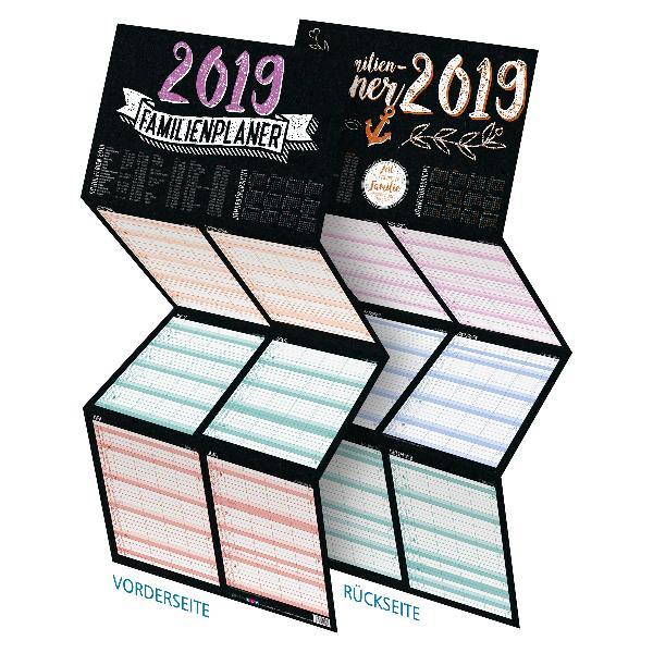 itenga Familienplaner 2019 Tafeldesign zum Aufhängen 4...