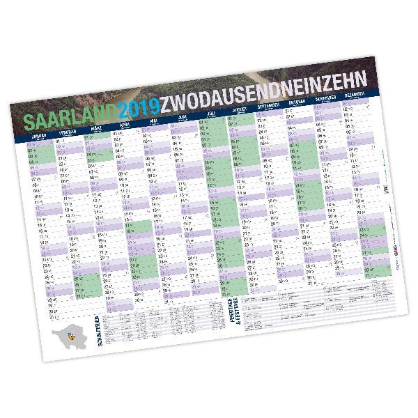 Jahresplaner Saarland 2019 DIN A0 (118,9 x 84,1 cm), 250...