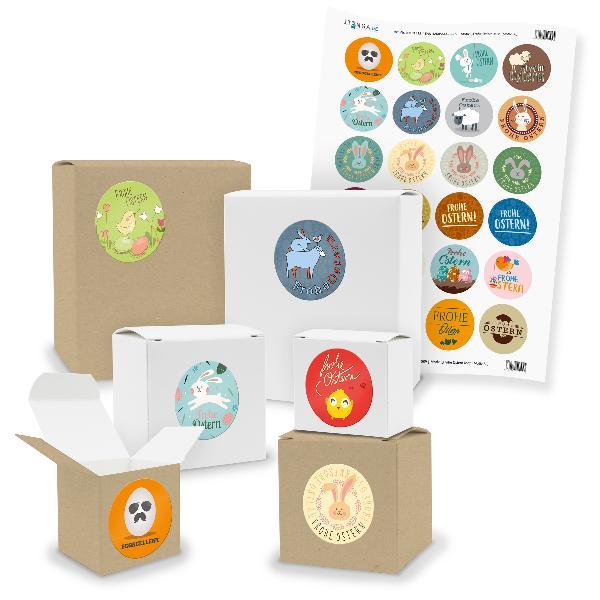 itenga SET 24x kleine Geschenkboxen mit Sticker Ostern M...