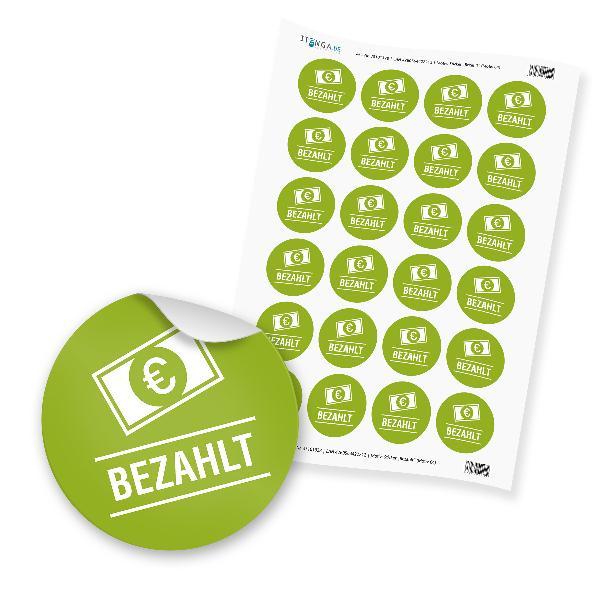 "24 x itenga Hinweis Aufkleber  Sticker ""Bezahlt"" (Motiv 64)"