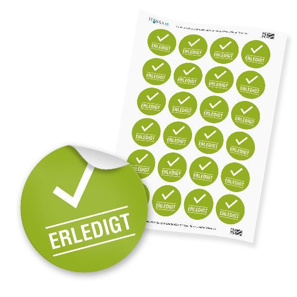 "24 x itenga Hinweis Aufkleber  Sticker ""Erledigt"" (Motiv..."