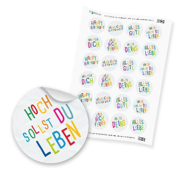 "24 x itenga Sticker ""Glückwünsche Kids"" (Motiv 77)"