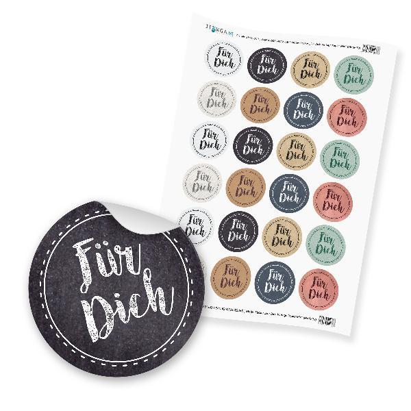 "24 x itenga Sticker ""Für Dich Vintage Papier Mix"" unlack..."