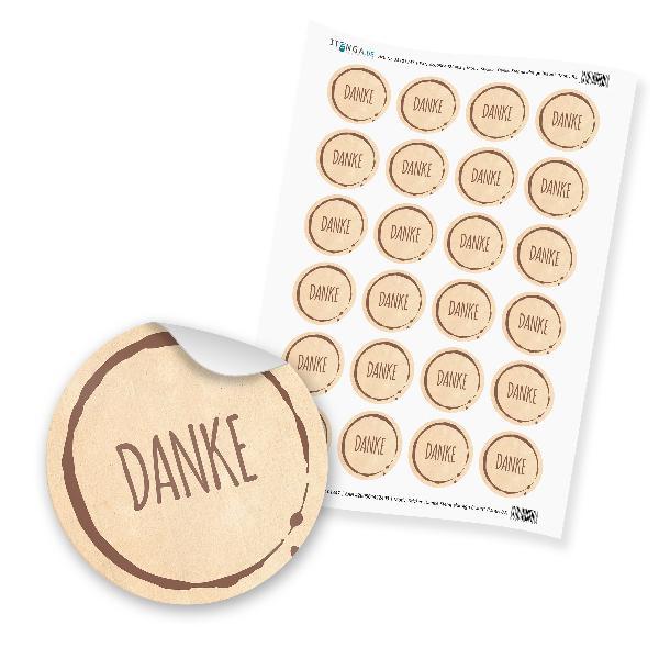 """24 x itenga Sticker """"Danke Stempeldesign Braun"""" unlackie..."""