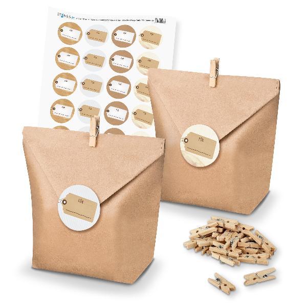 itenga SET Geschenktüten Etiketten Vintage Papier Mix un...