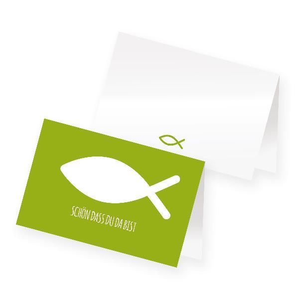 itenga 24x Tischkarte Fisch GRÜN Platzkarte Kommunion Ta...