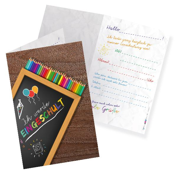 itenga 12x Klappkarte Einladungskarten Schulanfang Einsc...
