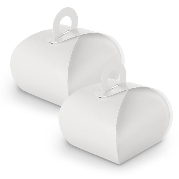 10x itenga Geschenkbox mit Griff weiß aus Karton