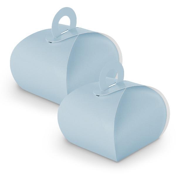10x itenga Geschenkbox mit Griff hellblau aus Karton