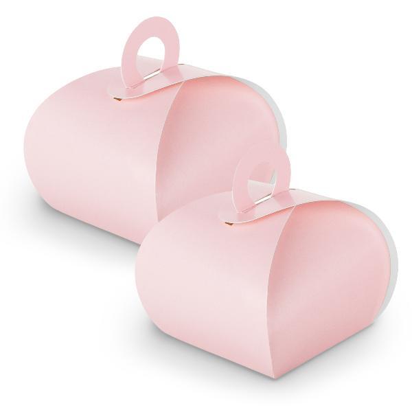 10x itenga Geschenkbox mit Griff rosa aus Karton