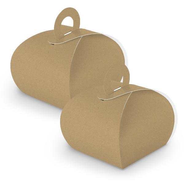 10x itenga Geschenkbox mit Griff braun Kraftkarton