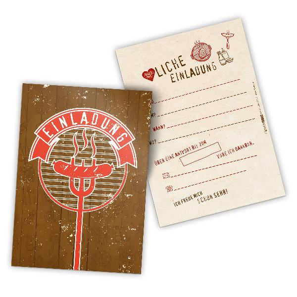 itenga 12x Einladungskarte BBQ rustikal Grillparty A6