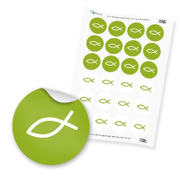 24x Sticker Fisch  (Motiv 90) grün 4cm Taufe Kommunion K...