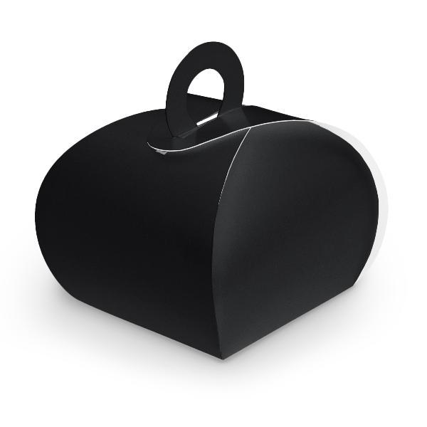 10x itenga Geschenkbox mit Griff Kraftkarton schwarz