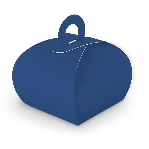 10x itenga Geschenkbox mit Griff Kraftkarton dunkelblau