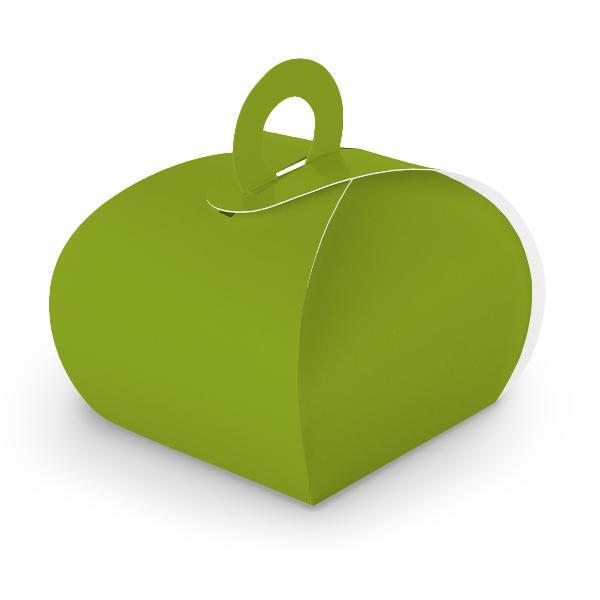 10x itenga Geschenkbox mit Griff Kraftkarton grün