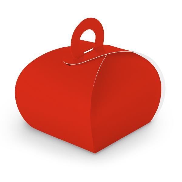 10x itenga Geschenkbox mit Griff Kraftkarton rot