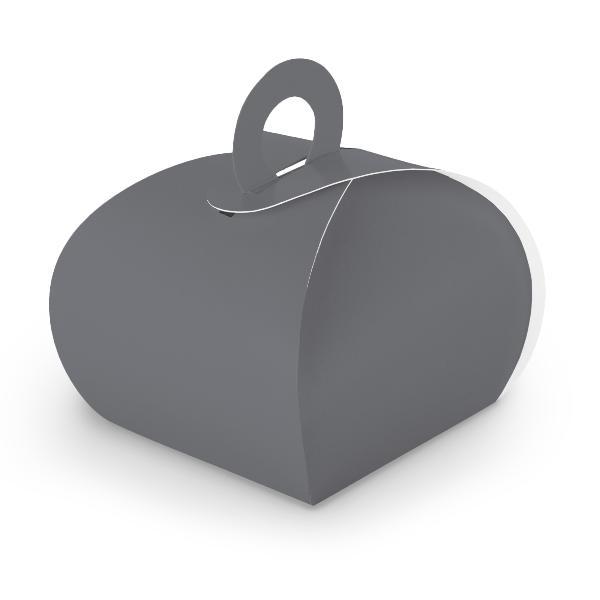 10x itenga Geschenkbox mit Griff Kraftkarton grau