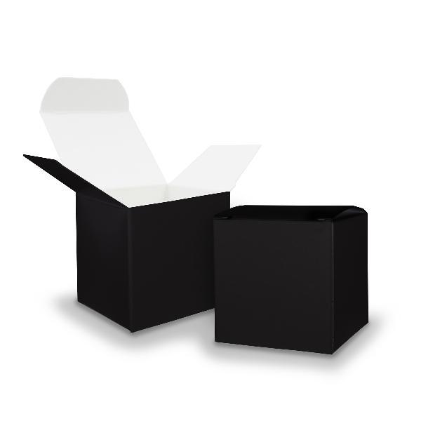 25x itenga Würfelbox aus Karton 6,5x6,5cm schwarz Gastge...