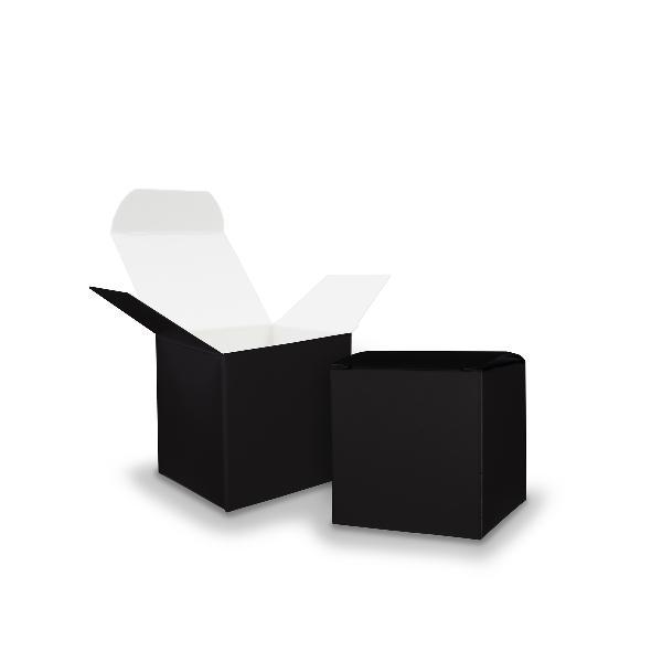 50x itenga Würfelbox aus Karton 5x5cm schwarz Gastgeschenk