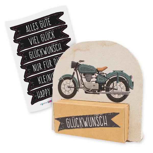 itenga Geldgeschenkverpackung Motorrad Vintage mit Stick...