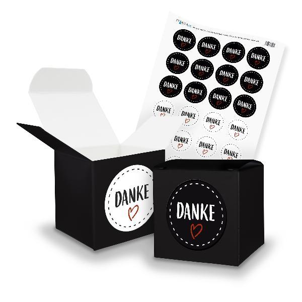 itenga SET DANKE (Motiv 22) 24x Würfel 6,5cm schwarz + S...