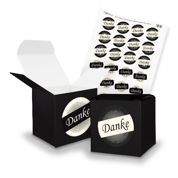 itenga SET DANKE (Motiv 36) 24x Würfel 6,5cm schwarz + S...