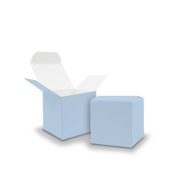 50x itenga Würfelbox aus Karton 5x5cm eisblau Gastgeschenk