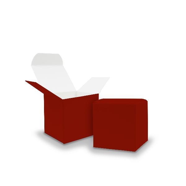 50x itenga Würfelbox aus Karton 5x5cm dunkelrot Gastgesc...