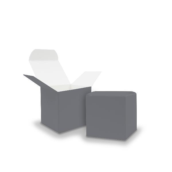 50x itenga Würfelbox aus Karton 5x5cm grau Gastgeschenk