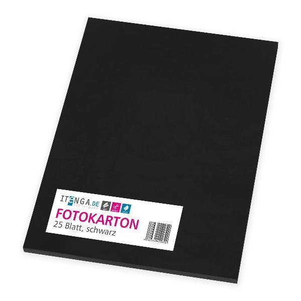 itenga Fotokarton - A4 300 g/qm schwarz 25 Blatt