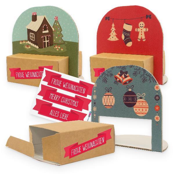 itenga Geschenkverpackung Set Weihnachten Vintage 3x V...