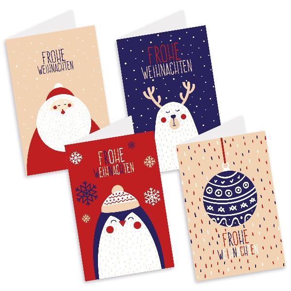 itenga Weihnachtskarten Figuren 4x Klappkarte DIN A6