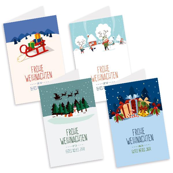 itenga Weihnachtskarten Landschaften 8x Klappkarte DIN...