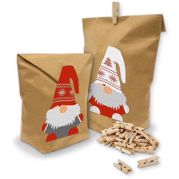 Geschenktüten Set Wichtelbande Weihnachten Klammern + St...