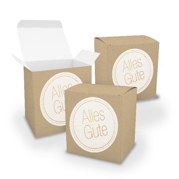 itenga Geschenkverpackung Set 3x XL Würfel BRAUN + Stick...