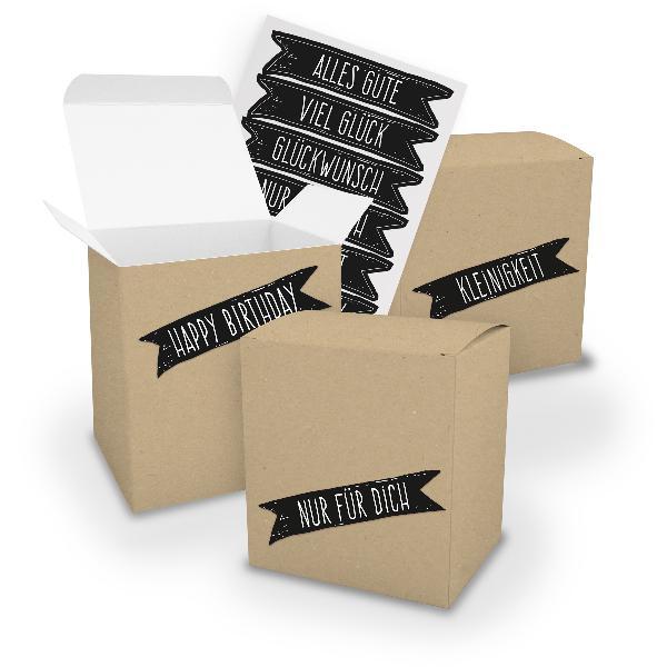 itenga Geschenkverpackung Set 3x XL Würfel BRAUN+ Sticke...