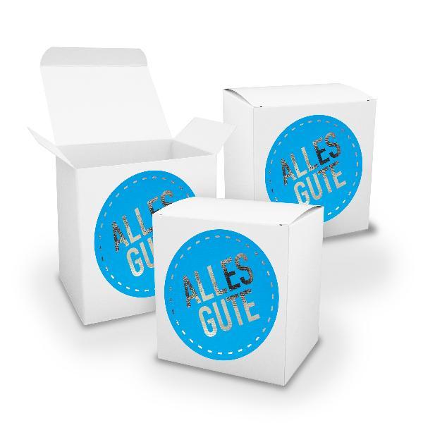 itenga Geschenkverpackung Set 3x XL Würfel Weiss+ Sticke...
