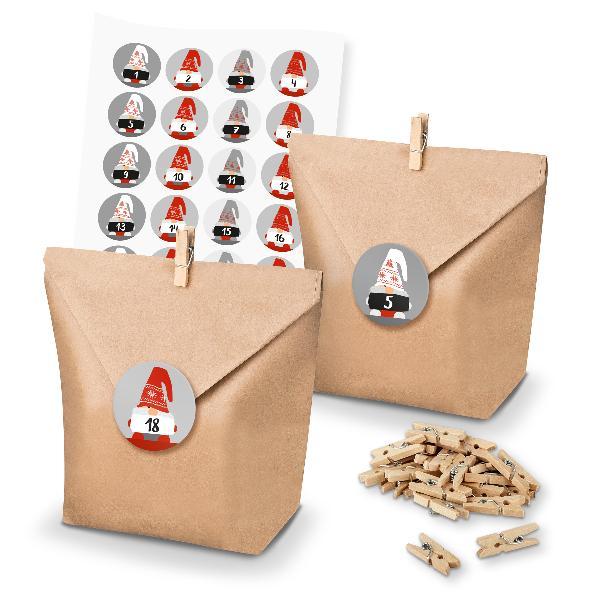 Adventskalender Set 29 Geschenktüten Klammern + Sticker ...