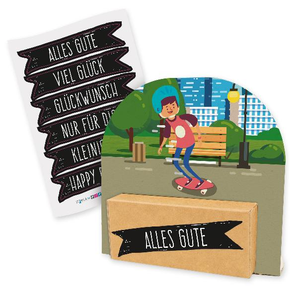 itenga Geldgeschenkverpackung Skateboard Skater (Motiv 3...