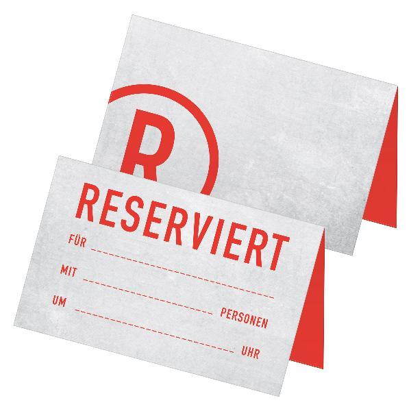 itenga 24x Tischkarten Reserviert rot hellgrau Betonop...