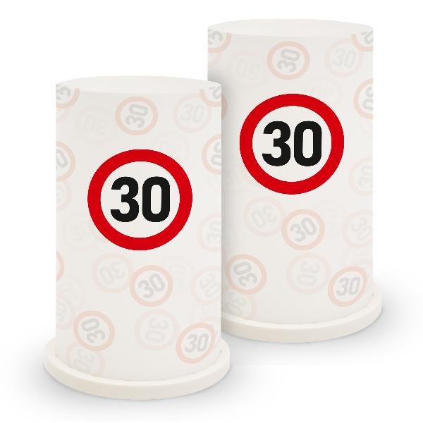 itenga Windlicht Verkehrsschild 30 für Geburtstag Tisc...